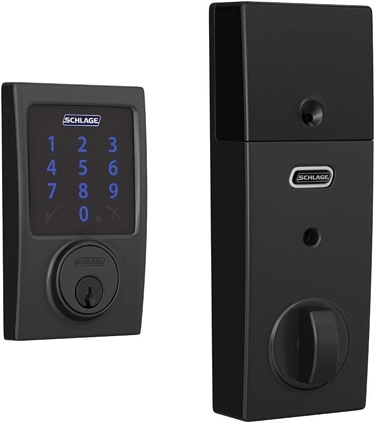Schlage BE469ZP CEN 622 Connect Smart Deadbolt with Alarm with Century Trim in Matte Black, Z-Wave Plus Enabled