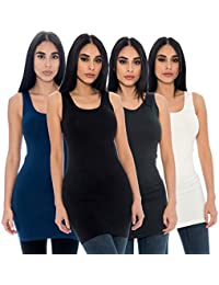 Seamless 4 Pack Long Tank Top Stretch Camisole Layering Tops Regular Plus Size