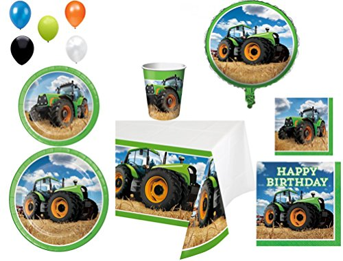 Disposable Plates/Napkins/Cups/Tablecloth/Balloons Tractor Time Happy Birthday Themed Party Pack, 8 Piece Bundle