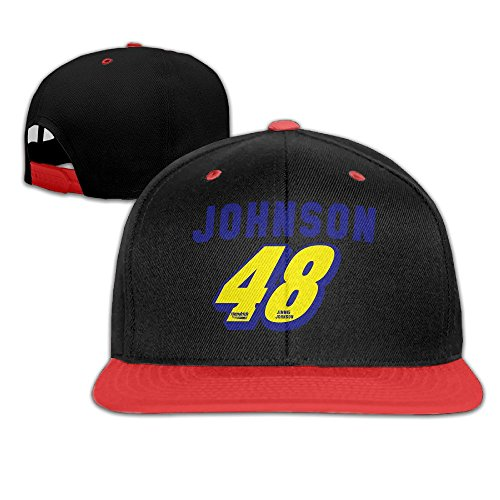 [KIYOMM Unisex 48 Logo Adjustable Snapback Hip-hop Baseball Cap & Hat Red] (Jimmie Johnson Costume Nascar)