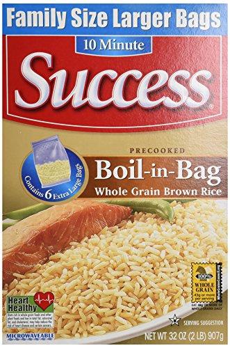 SUCCESS Rice Boil In Bag Brown Rice, 6 Large Bags, Net WT 32