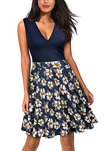 Miusol Women's Casual Flare Floral Contrast Evening Party Mini Dress