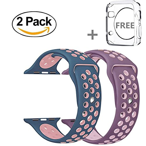 Watch Band 42mm, Soft Silicone Replacement Band with Adjustable Buckle and Quick Release for Apple Watch 3/2/1/Edition, 2 Pack with free iWatch tpu screen protector (Pink/Blue + Purple/Pink)