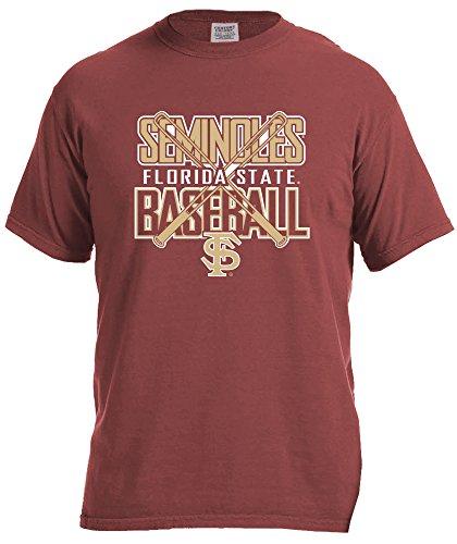 NCAA Florida State Seminoles Baseball Bats Short Sleeve Comfort Color T-Shirt, Small,Brick