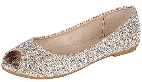 Peep Toe Rhinestone (Cambridge Select Women's Peep Toe Crystal Rhinestone Glitter Slip-On Ballet Flat,7 B(M) US,Champagne)