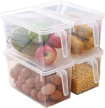 MineSpace - Juego de 4 cajas de almacenamiento de plástico con asa cuadrada para almacenamiento de alimentos con tapas para nevera, armario de nevera o escritorio (tamaño grande)