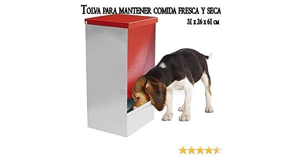 TOLVA COMEDERO para almacenar comida FRESCA y SECA. 31 x 26 x 61 cm. Diseñada para perros, gatos y otras mascotas. Permite almacenar y dispensar desde su ...