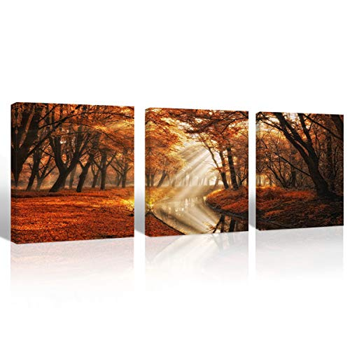 Mon Art Maple Forest Picture Canvas Print Wall Art for Living Room Bedroom Golden Autumn Season Decoration Sunrise in Morning Leaves Fall in River Lake Landscape Artwork Home Decor Framed,16