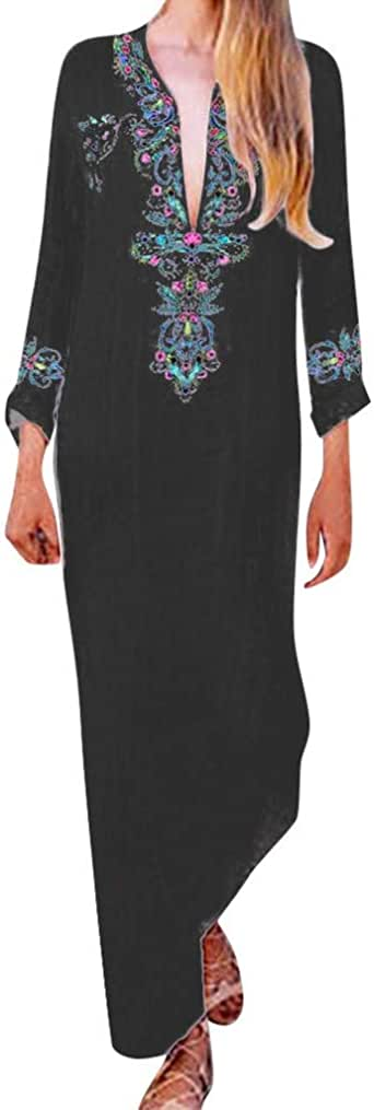 Pervobs Women Long Maxi Dress Summer Long Sleeve Print V