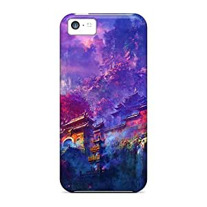 LJF phone case For iphone 4/4s Premium Tpu Case Cover Oriental Mountain Temple Protective Case