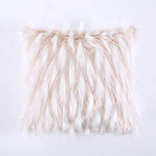Ojia Deluxe Home Decorative Super Soft Plush Mongolian Faux Fur Throw Pillow Cover Cushion Case (18 x 18 Inch, Fox White)