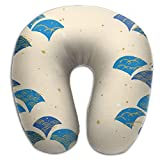 Japan's Style Wave Pattern U-Shaped Neck Pillow Cover,Graphic Polyester Pillow for Neck Pain Airplane Travel Office Computer Chair Home Bed Car Trips