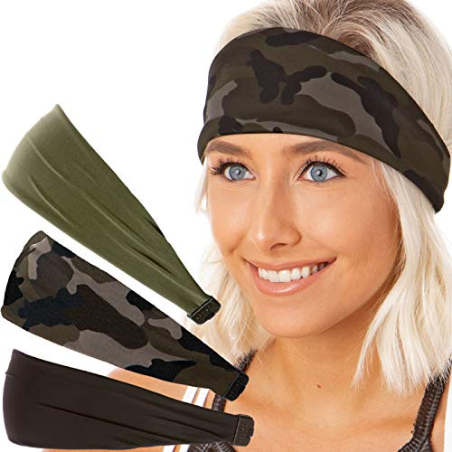 Hipsy Adjustable & Stretchy Printed Xflex Wide Headbands for Women Girls & Teens (3pk Black/Camo/Olive)