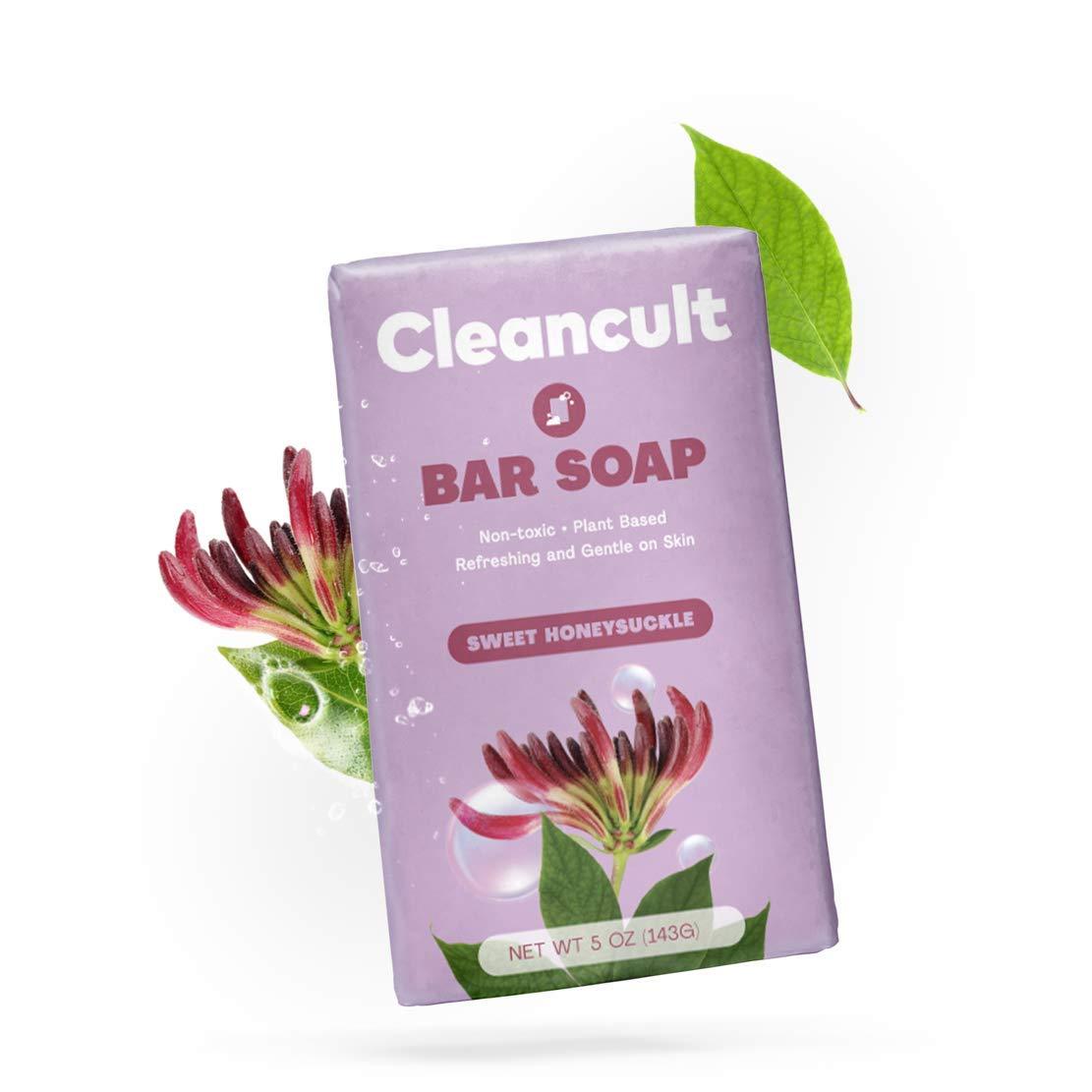 Cleancult Natural Bar Soap for Hands Body & Face, Sweet Honeysuckle Scent, 5 oz Bar, Cruelty Free & Eco Friendly, Men & Women, Sensitive Skin Moisturizing Formula, Plastic Free Packaging