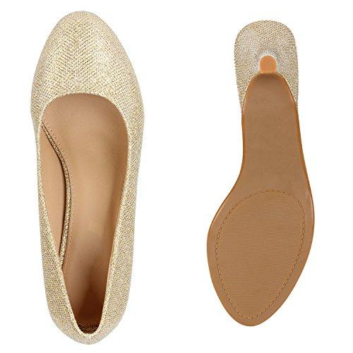 Stiefelparadies Damen Klassische Pumps Flandell Gold Gold