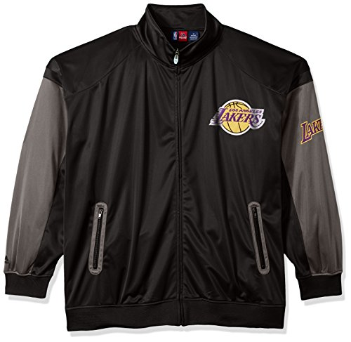 rs Men's Big & Tall Team Track Jacket, Black/Charcoal, 3X (Lakers Jackets)