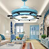 RS Lighting Children Bedroom Stealth 36 inch Blue Ceiling Fan Lights Pirate Ship Steering Wheel Led Fan Chandelier for Living Room Ceiling Lights