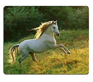 white brown horses pony meadow Mouse Pads Customized Made to Order Support Ready 9 7/8 Inch (250mm) X 7 7/8 Inch (200mm) X 1/16 Inch (2mm) High Quality Eco Friendly Cloth with Neoprene Rubber Liil Mouse Pad Desktop Mousepad Laptop Mousepads Comfortable Computer Mouse Mat Cute Gaming Mouse pad