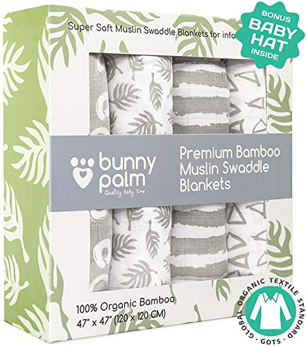 Muslin Swaddle Blankets, Unisex Organic Bamboo for Baby Set of 4 Swaddles for Boys and Girls, Soft Swaddling Receiving Sleep Blankets, Grey Unisex Infant Toddler Gender Neutral Baby Hat ... ()