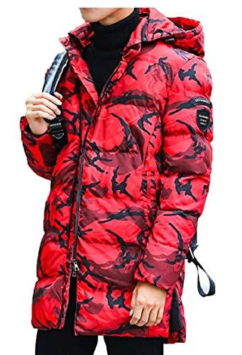 Il Cotone Della Cappotto Camo Stampa Riempito Sicurezza Caldo Outwear Imbottito Uomini Rossa Giacca Wxtngqwg