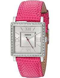 GUESS Women's Quartz Stainless Steel and Leather Casual Watch, Color:Pink (Model: U0829L12)