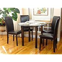 Dining Kitchen Set 5 Pcs Classic Round Table and 4 Solid Wooden Chairs Fallabella Espresso Black Finish