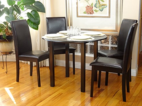 Dining Kitchen Set 5 Pcs Classic Round Table and 4 Solid Wooden Chairs Fallabella Espresso Black Finish (Round Dinette Sets)