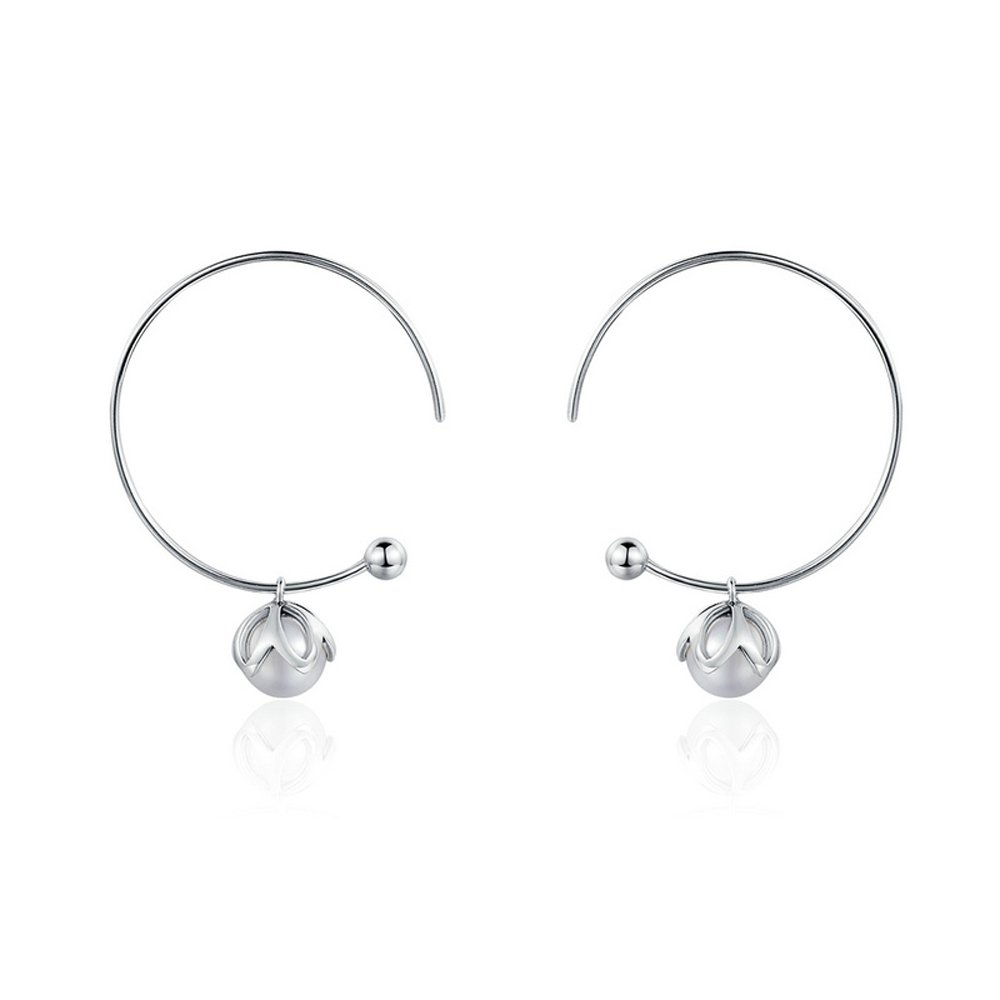 The Kiss Love Pearl 925 Sterling Silver Drop Earrings KISSESCE078