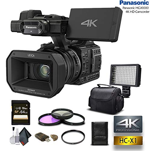 - Panasonic HC-X1000 4K DCI/Ultra HD/Full HD Camcorder with 64GB Memory Card, LED Light, Case, Telephoto Lens, and More - Advanced Bundle