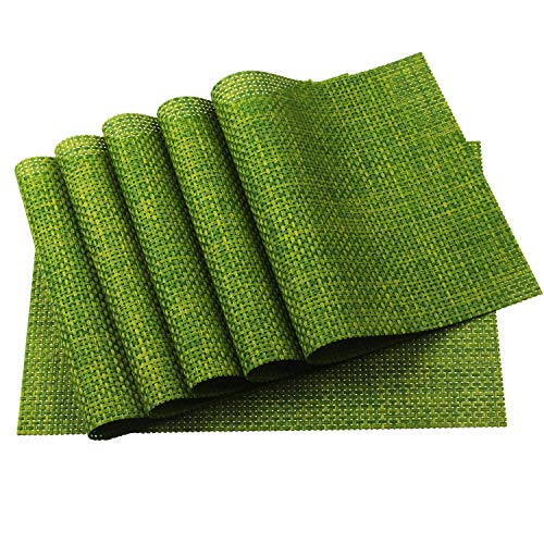 Homcomoda Washable PVC Placemats for Kitchen Table Non-Slip Dining Table Mats Heat-Resistant Vinyl Place Mats Set of 6 (Green)