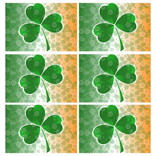Naanle St.Patrick's Day Shamrock Placemats Set of 6, Irish St Patrick's Day Non Slip Heat-Resistant Washable Table Place Mats for Kitchen Dining Table Home Decoration, 12