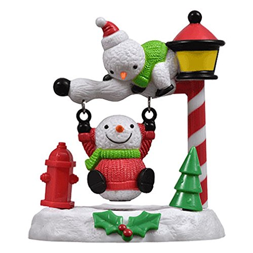 Christmas Solar Powered Swinging Snowmen - 3 x 3.5 Inches