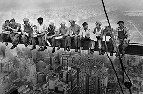 Buyartforless Men on a Steel Beam Lunchtime ATOP NYC by John C Ebbets 36x24 Photographic Art Print Poster Wall Decor Historical Black and White