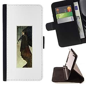 """For Sony Xperia M4 Aqua,S-type Acuarela Cartel minimalista Blanca"""" - Dibujo PU billetera de cuero Funda Case Caso de la piel de la bolsa protectora"""