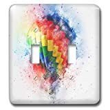 3dRose Lens Art by Florene - Watercolor Art - Image of Pretty Painting of Colorful Hot Air Baloon - Light Switch Covers - double toggle switch (lsp_290980_2)