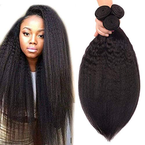 Odir Brazilian Kinky Straight Human Hair 3 Bundles 14 16 18 Inch Yaki Straight Human Hair Weft Unprocessed 8A Brazilian Virgin Human Hair Kinkly Straight Weave Bundles Natural Color