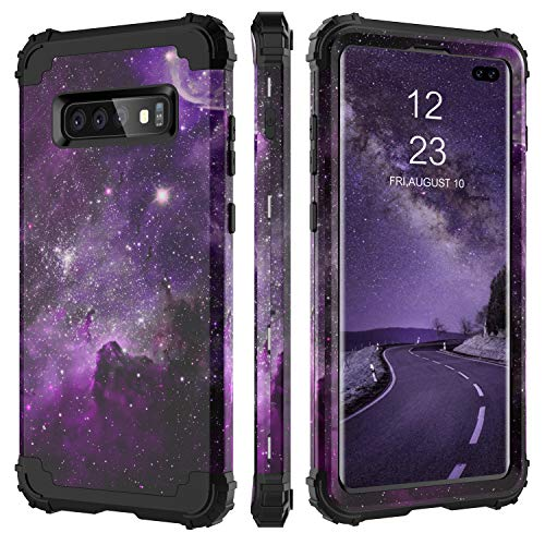 BENTOBEN Case for Galaxy S10+ Plus, 3 Layer Space Design Hybrid Hard PC Soft Rubber Bumper Heavy Duty Rugged Full Body Shockproof Protective Phone Cover for Samsung Galaxy S10 Plus, Purple Nebula
