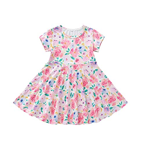 Toddler Baby Girls Dresses, Kids Princess Floral Print Short Sleeve Skirts Cotton Breathable Loose Comfort Dresses 0-4T Swiusd (Pink, 12-18 Months)