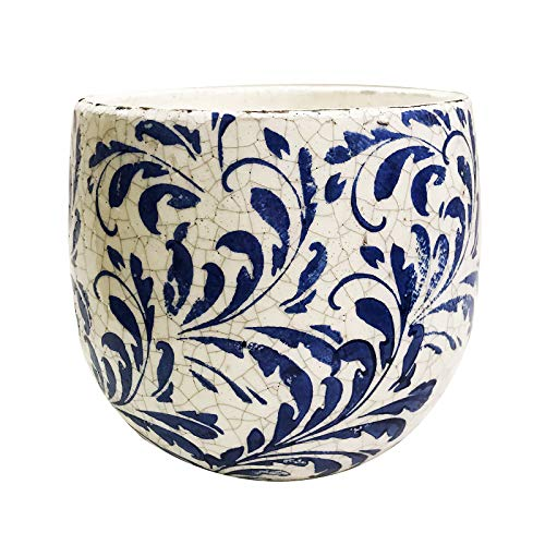 (Old World Ceramic Blue and White Feather Pattern Round planters or Garden pots (Large Fat Belly 6.75 inches Tall))