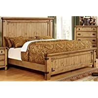 Furniture of America Corinthia Panel Bed, Eastern King, Burnished Pine