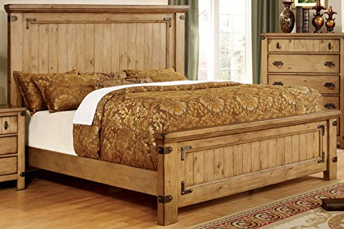 Furniture of America Corinthia Panel Bed, California King, Burnished (Oak Wooden Beds)