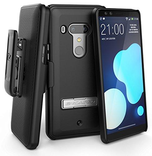 (Encased Slimline HTC U12 Plus Belt Case - Ultra Slim, Rubberized Holster Shell Combo (Reinforced Metal Kickstand) Smooth Black)