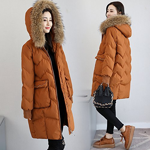 Fur The Of Thick Collar Cocoon Women Clothing caramel Colour Cotton Loose Coat In Large Thick Section Xuanku The Winter Cotton Long 5wpYfz6q