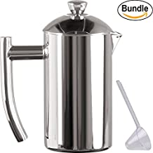 Frieling USA Double Wall Stainless Steel French Press Coffee Maker with Patented Dual Screen & Zonoz One-Tablespoon Plastic Clever Scoop Bundle (8-Ounce, Polished Stainless Steel)