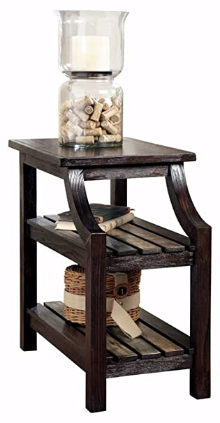 Ashley Furniture Signature Design   Mestler Chair Side End Table    Rectangular   Rustic Brown