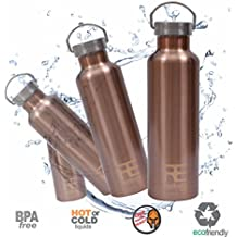 Rehydrate-Pro Double Wall (25oz) Insulated Stainless Steel Water Vacuum Bottle Flask. Best Reusable Thermo, and Coolest Drink Holder + Bonus 'FlipNSip' Sports Cap with straw + Silicone Bumper Coaster