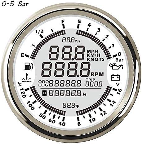 JPLLYY 85ミリメートルカーボートGPSスピードメーター多機能水温燃料レベル電圧計、油圧計タコメータ (Color : WS 05Bar, Size : フリー)