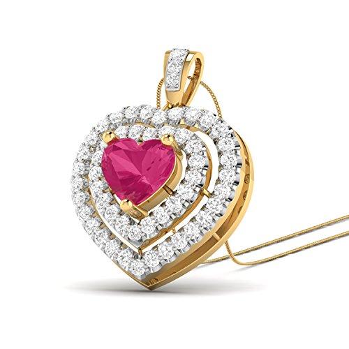 PC Jeweller The Enni 18KT Yellow Gold, Diamond   Gemstone Pendant