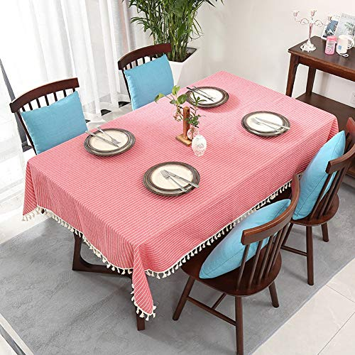 MCBXT Striped Tablecloth, Cotton Linen Rectangular Stain Dust Proof Cloth Decorative Oilcloth, for Kitchen Buffet Parties BBQs Party Indoor and Outdoor Table Cover,Red,120cmx160cm ()