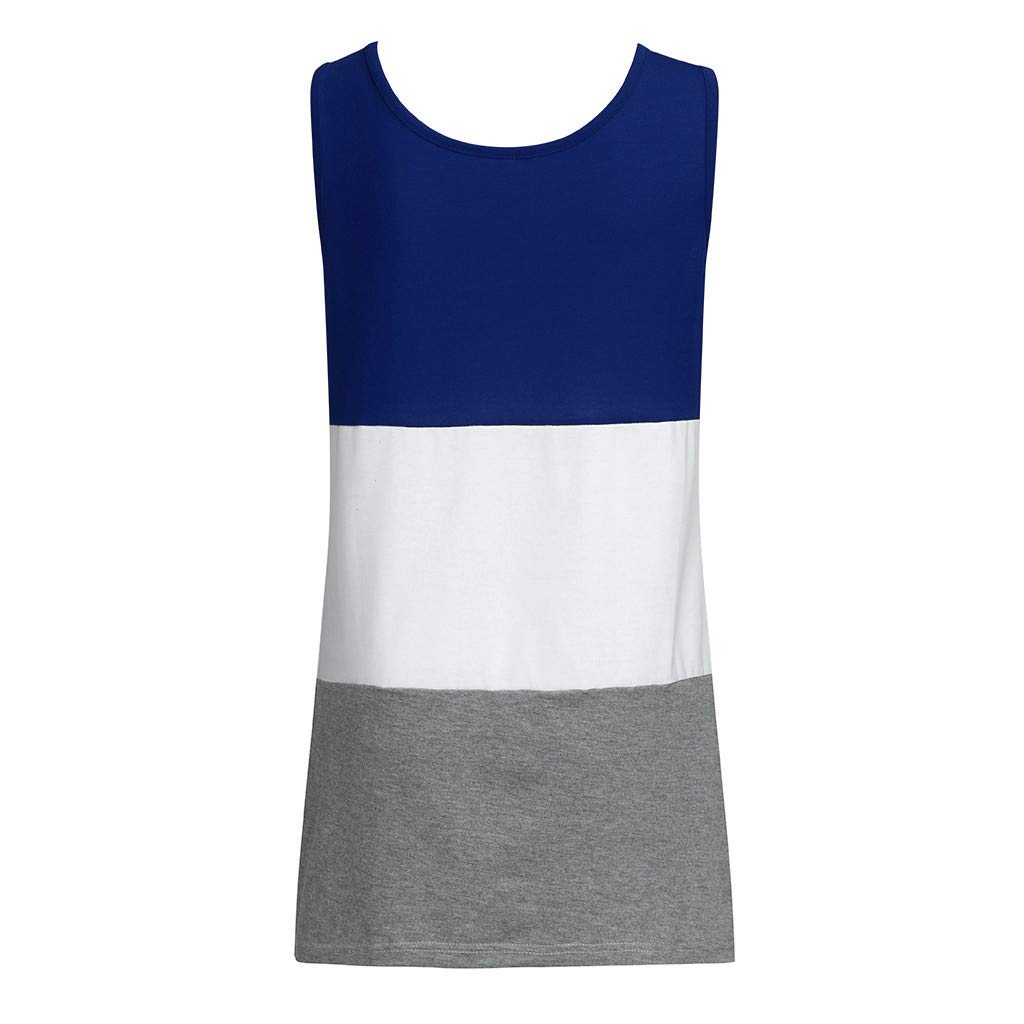 26ba444962 Moonface Women Blouse, 2019 Casual Summer Round Neck Style Women Ladies  Sleeveless Fashion Loose Color Patchwork Casual Side Slit Tops T Shirt  Blouse: ...